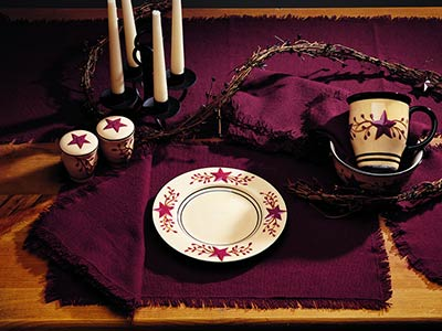Wine Red Burlap Table Runner (54 inch)