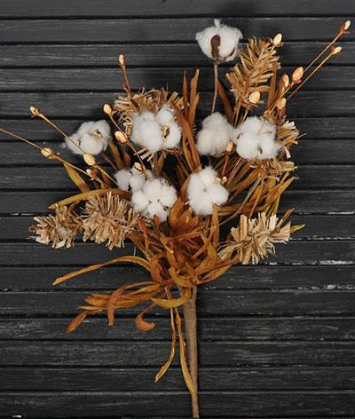 Fall Grass & Cotton Bush - 24 inch