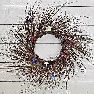 Americana Pip Berry & Twig Wreath