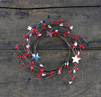 Patriotic Pip Berry Candle Ring with Stars - 3.5 inch