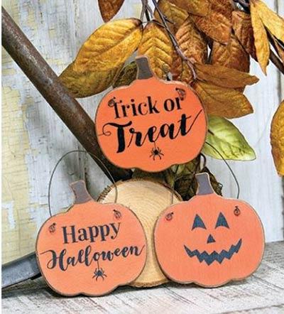 Halloween Pumpkin Sign Ornaments (Set of 3)