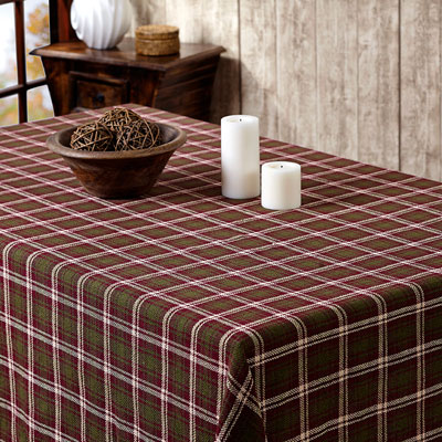 Jackson Plaid Round Tablecloth (70 inch) - green, burgundy tan