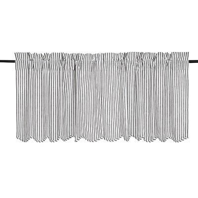 Josephine Black Ticking Stripe Cafe Curtains - 24 inch Tiers