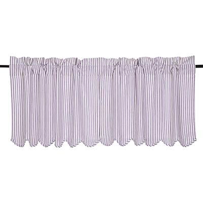 Josephine Orchid Ticking Stripe Cafe Curtains - 24 inch Tiers