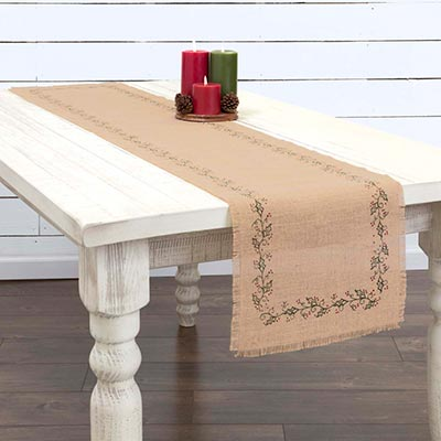 Jute Burlap Ivy 72 inch Table Runner