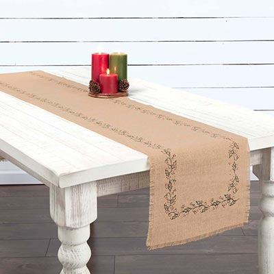 Jute Burlap Ivy 90 inch Table Runner