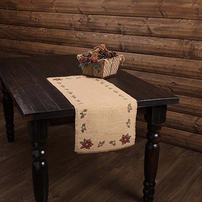 Jute Burlap Poinsettia 36 inch Table Runner