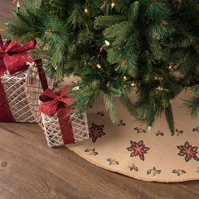 Jute Burlap Poinsettia 48 inch Tree Skirt