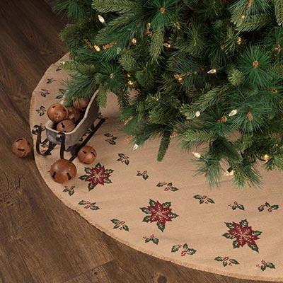 Jute Burlap Poinsettia 55 inch Tree Skirt