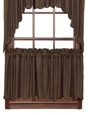 Kettle Grove Black Plaid Cafe Curtains - 24 inch Tiers