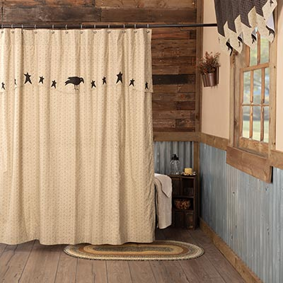 Kettle Grove Shower Curtain with Attached Applique Crow and Star Valance
