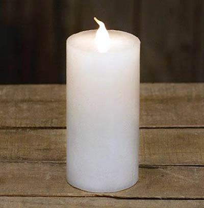 Slim White Battery Pillar Candle - 4.25 inch