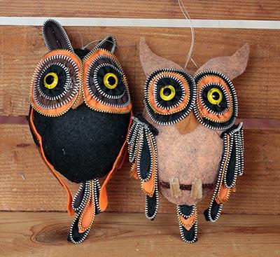 Zipper Owl Ornaments (Set of 2)