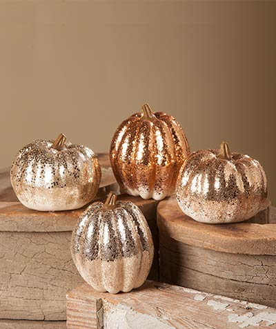 Elegant Fall Glittered Pumpkins (Set of 4)