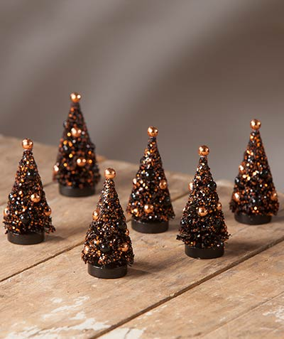 Magic Halloween Glittered Mini Bottlebrush Trees (Set of 6)