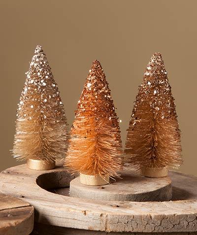 Fall Sparkle Bottlebrush Trees (Set of 3)