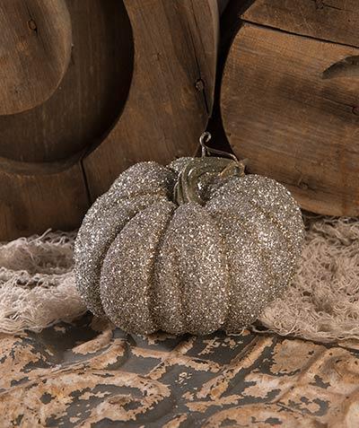 Glass Glittered Pumpkin - Small
