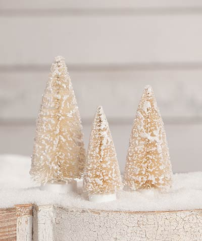 Small Winter Bottlebrush Trees (Set of 3)