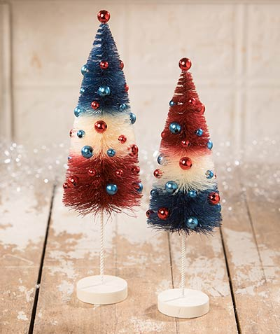 Americana Rocket Bottlebrush Trees (Set of 2)