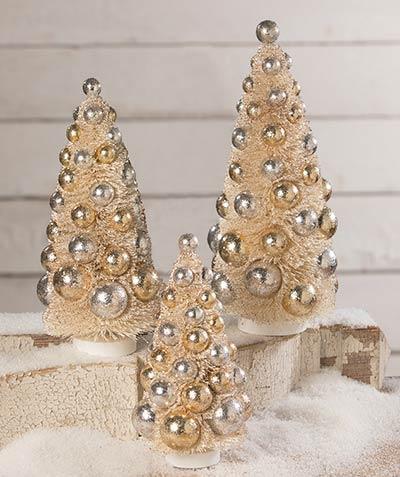 Silver & Gold Bottlebrush Trees (Set of 3)