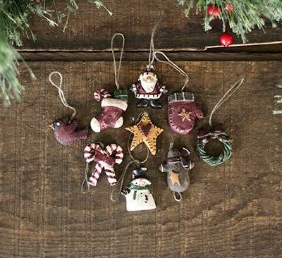 Mini Country Christmas Ornaments (Set of 9)