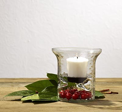 Hammered Glass Votive Holder with Pan