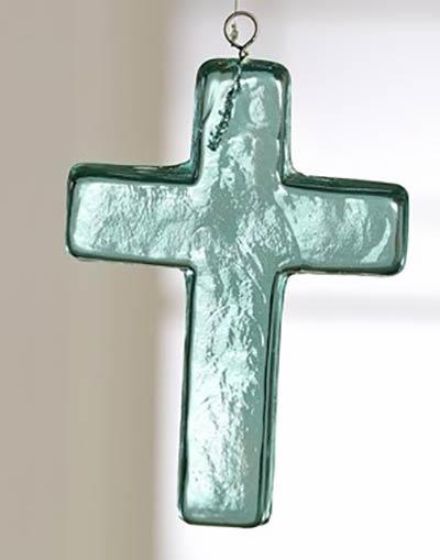Blue Glass Cross Ornament - Medium