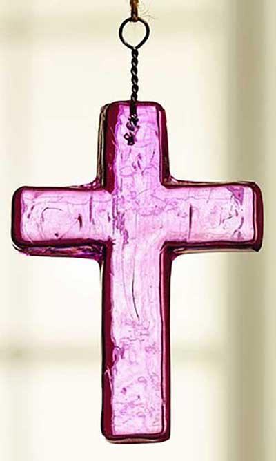 Pink Glass Cross Ornament - Small