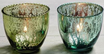 Blue & Green Mercury Glass Tealight Candle Holders (Set of 2)