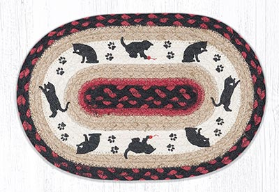 Cat and Kitten Printed Braided Oval Tablemat