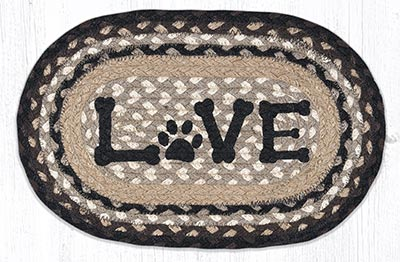 Love Pet Printed Braided Oval Tablemat
