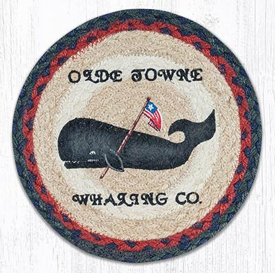 Folk Art Whale Braided Tablemat - Round (10 inch)