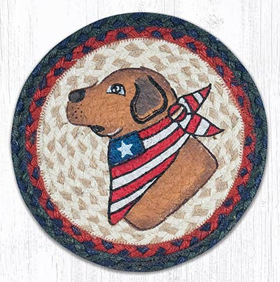 Yellow Lab Braided Tablemat - Round (10 inch)