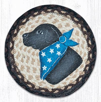 Black Lab Braided Tablemat - Round (10 inch)