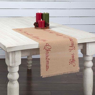 Merry Little Christmas Jute 36 inch Table Runner