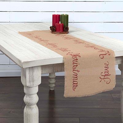 Merry Little Christmas Jute 48 inch Table Runner