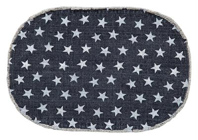 Multi Star Navy Cotton Rug - Oval