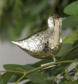 Mercury Glass Bird Clip Ornament