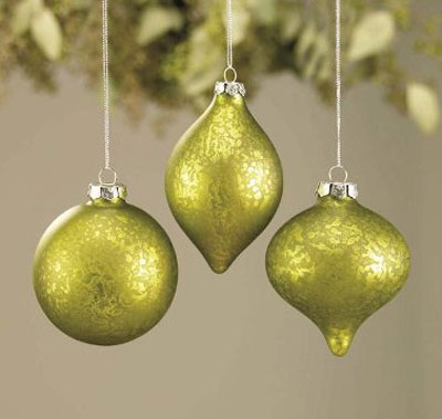 Green Frosted Glass Ornament