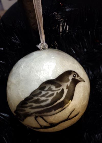 Capiz Ball Ornament - Crow