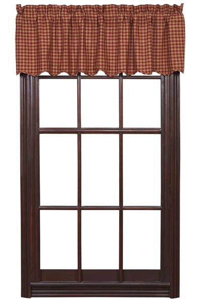 Ninepatch Star Valance (Burgundy & Tan Check)