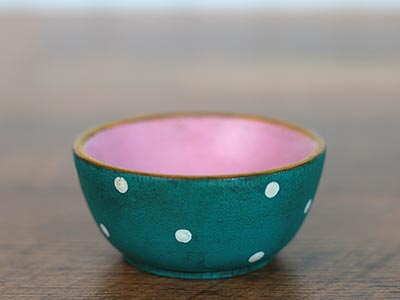 Mini Wooden Bowl - Teal & Pink with Polka Dots