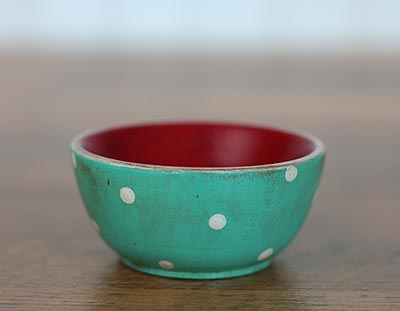 Mini Wooden Bowl - Aqua Blue & Red with Polka Dots