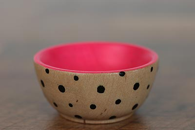 Mini Wooden Bowl - Neon Pink & Black with Polka Dots