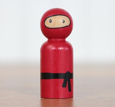 Ninja Peg Doll - Red (or Ornament)