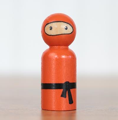 Ninja Peg Doll - Orange (or Ornament)