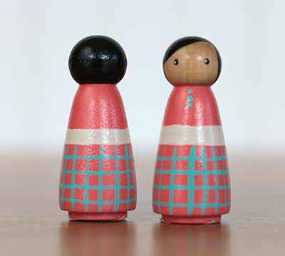Coral & Teal Girl Peg Doll