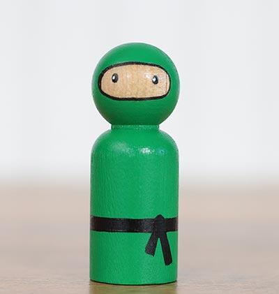 Ninja Peg Doll - Green (or Ornament)