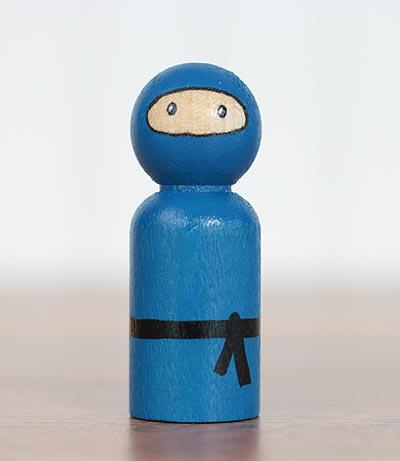 Ninja Peg Doll - Blue (or Ornament)