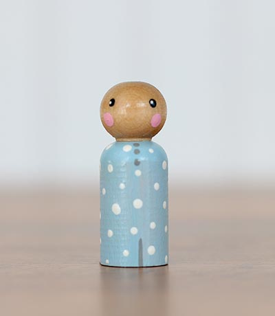Blue Polka Dot Peg Doll Baby (or Ornament)